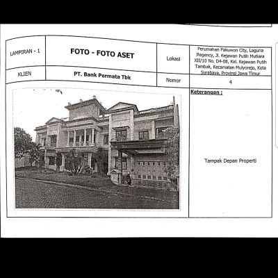 Tanah dan bangunan SHGB No.1335, lt.1.138 M2  Perum Pakuwon City Laguna Regency Surabaya (Permata Bank)
