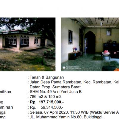 [BMRI] 3. Sebidang Tanah luas 786 m2 Dan Bangunan Sesuai  SHM No. 49, di Nagari Rambatan, Kecamatan Rambatan, Kabupaten Tanah Datar