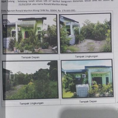 Mandiri Kanwil Papua: tanah luas 135 m2 berikut bangunan rumah di atasnya SHM 00694, Wonosari Jaya, Mimika Baru, Mimika Baru